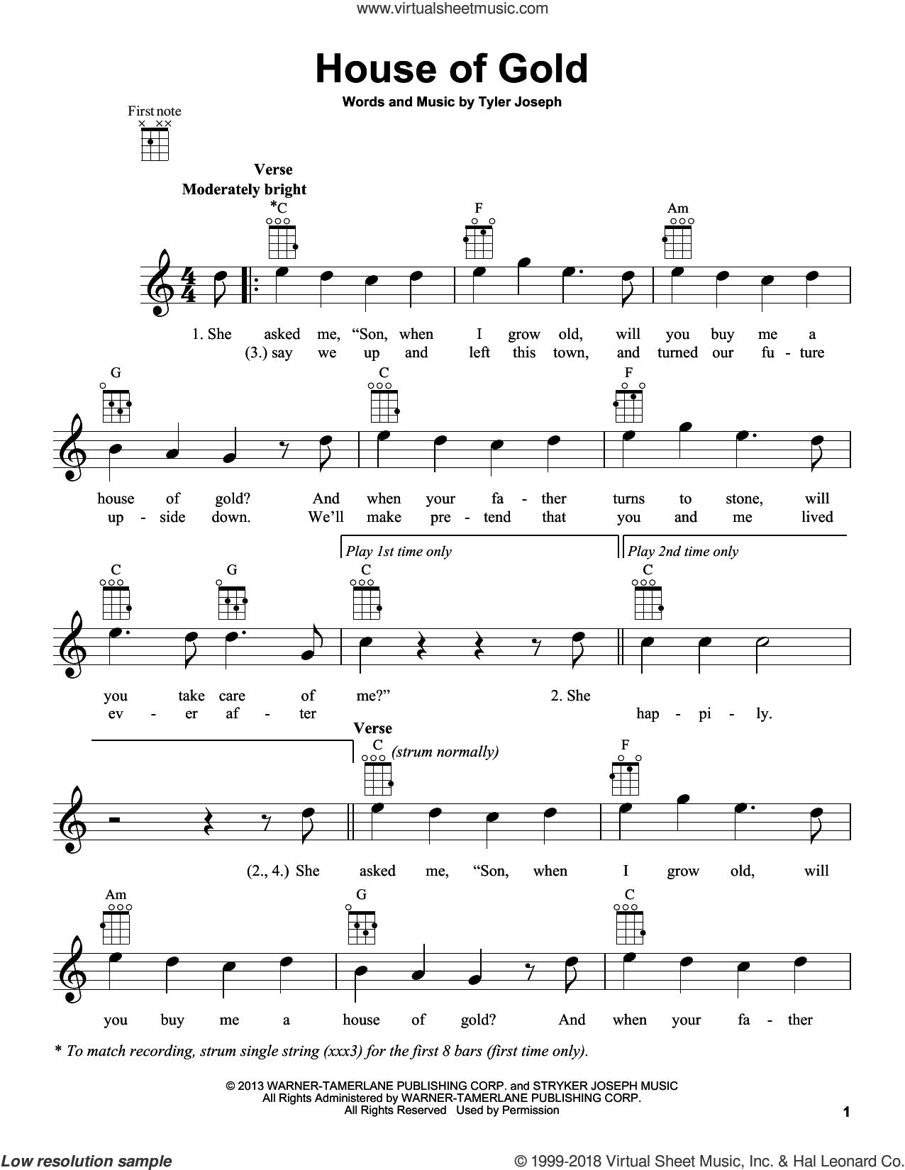 House Of Gold sheet music for ukulele by Twenty One Pilots and Tyler Joseph, intermediate skill level