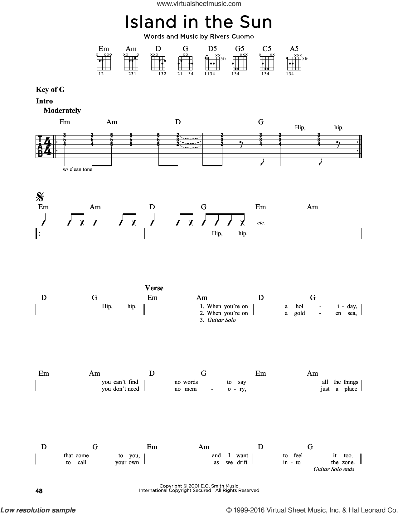 Island In The Sun sheet music for guitar solo (lead sheet) by Weezer and Rivers Cuomo, intermediate guitar (lead sheet)