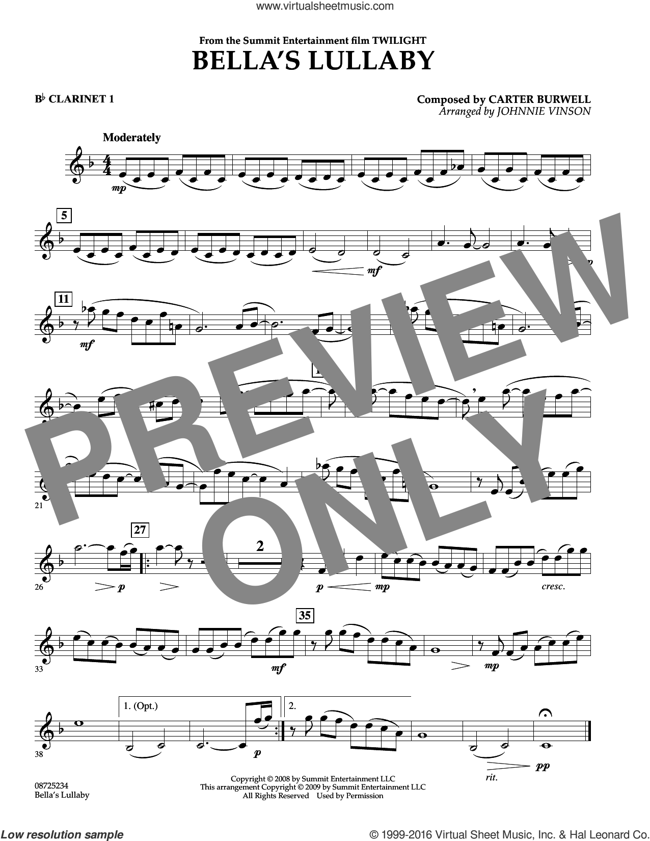 Bella's Lullaby (from Twilight) sheet music for concert band (Bb clarinet 1) by Johnnie Vinson and Carter Burwell. Score Image Preview.
