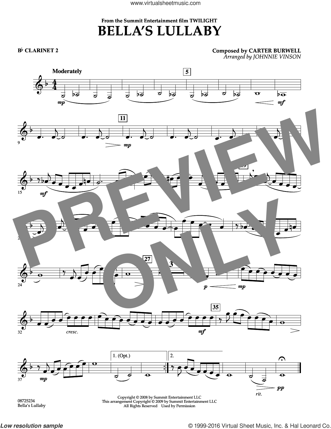 Bella's Lullaby (from Twilight) sheet music for concert band (Bb clarinet 2) by Carter Burwell and Johnnie Vinson, intermediate. Score Image Preview.