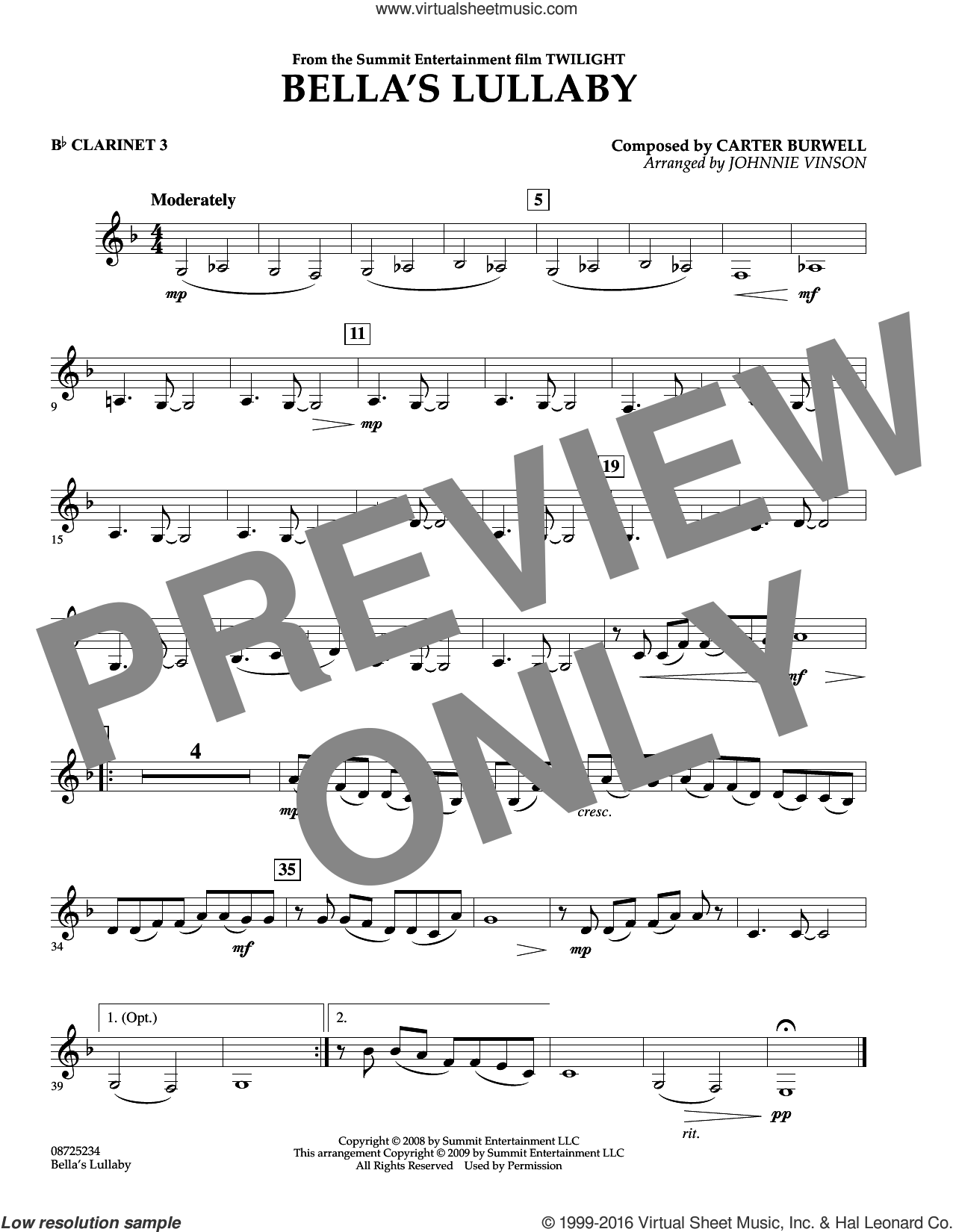 Bella's Lullaby (from Twilight) sheet music for concert band (Bb clarinet 3) by Johnnie Vinson and Carter Burwell. Score Image Preview.