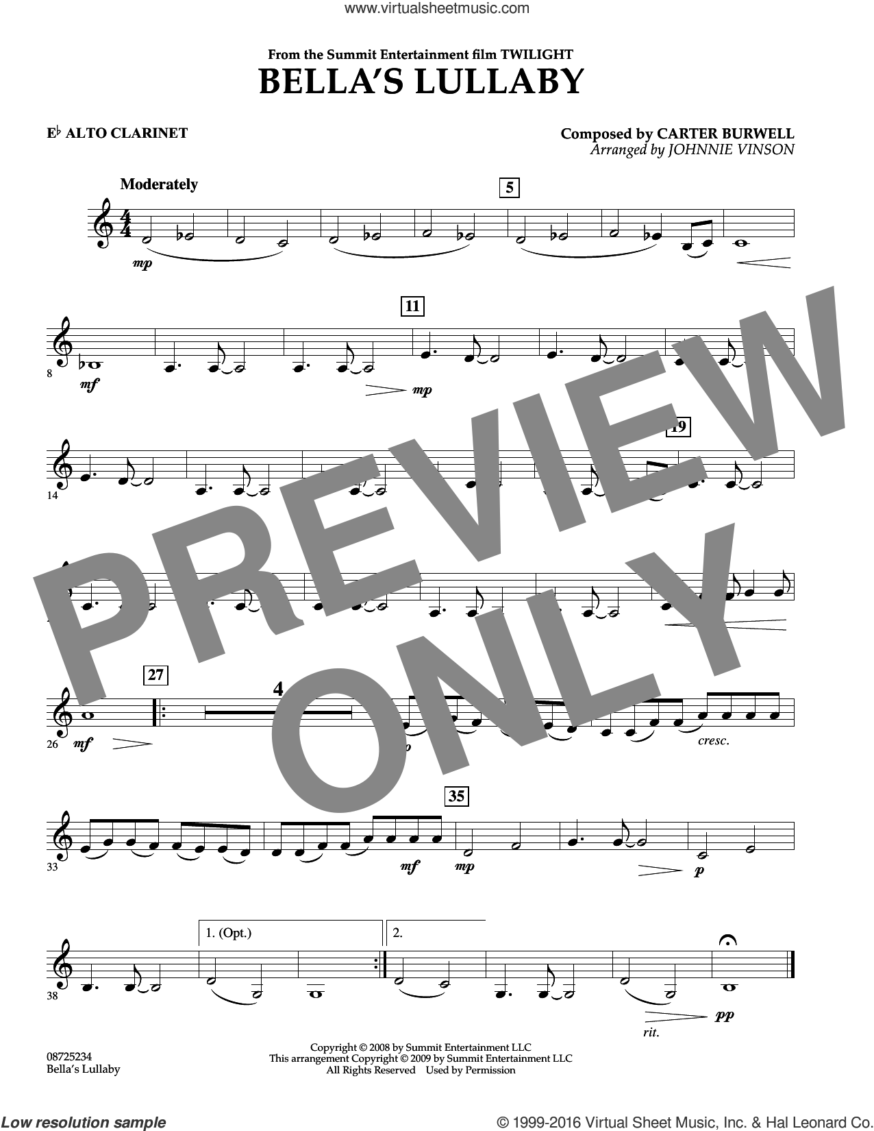 Bella's Lullaby (from Twilight) sheet music for concert band (Eb alto clarinet) by Johnnie Vinson and Carter Burwell. Score Image Preview.