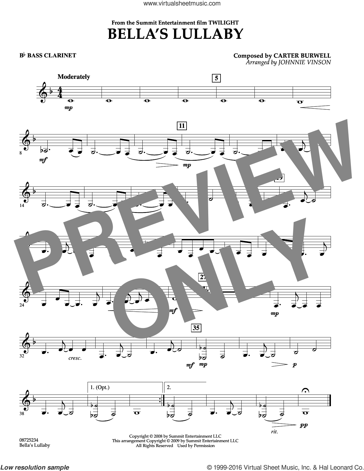 Bella's Lullaby (from Twilight) sheet music for concert band (Bb bass clarinet) by Carter Burwell and Johnnie Vinson, intermediate. Score Image Preview.
