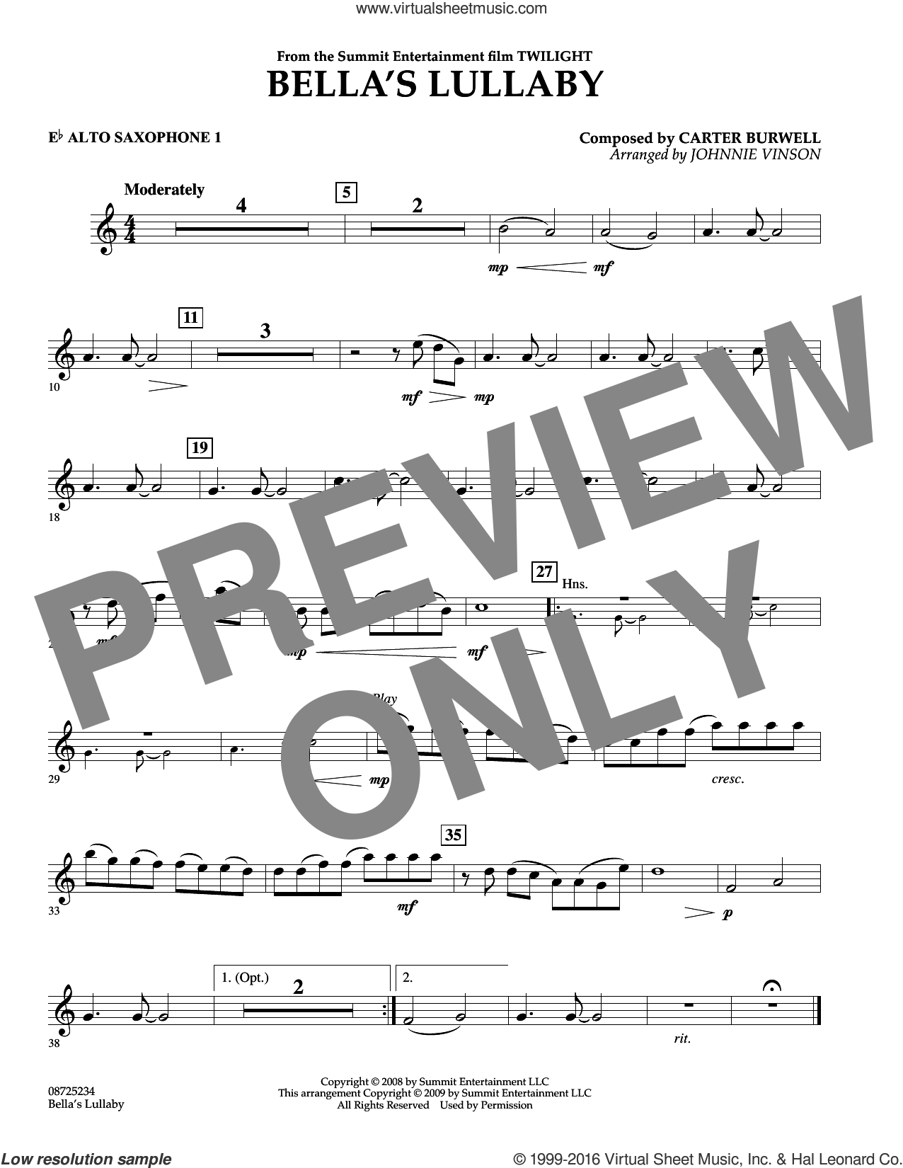 Bella's Lullaby (from Twilight) sheet music for concert band (Eb alto saxophone 1) by Carter Burwell and Johnnie Vinson, intermediate skill level