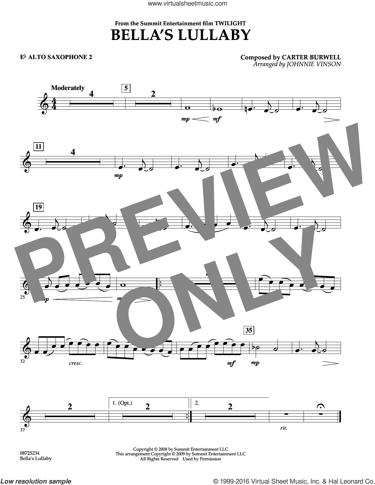 Bella's Lullaby (from Twilight) sheet music for concert band (Eb alto saxophone 2) by Johnnie Vinson and Carter Burwell. Score Image Preview.
