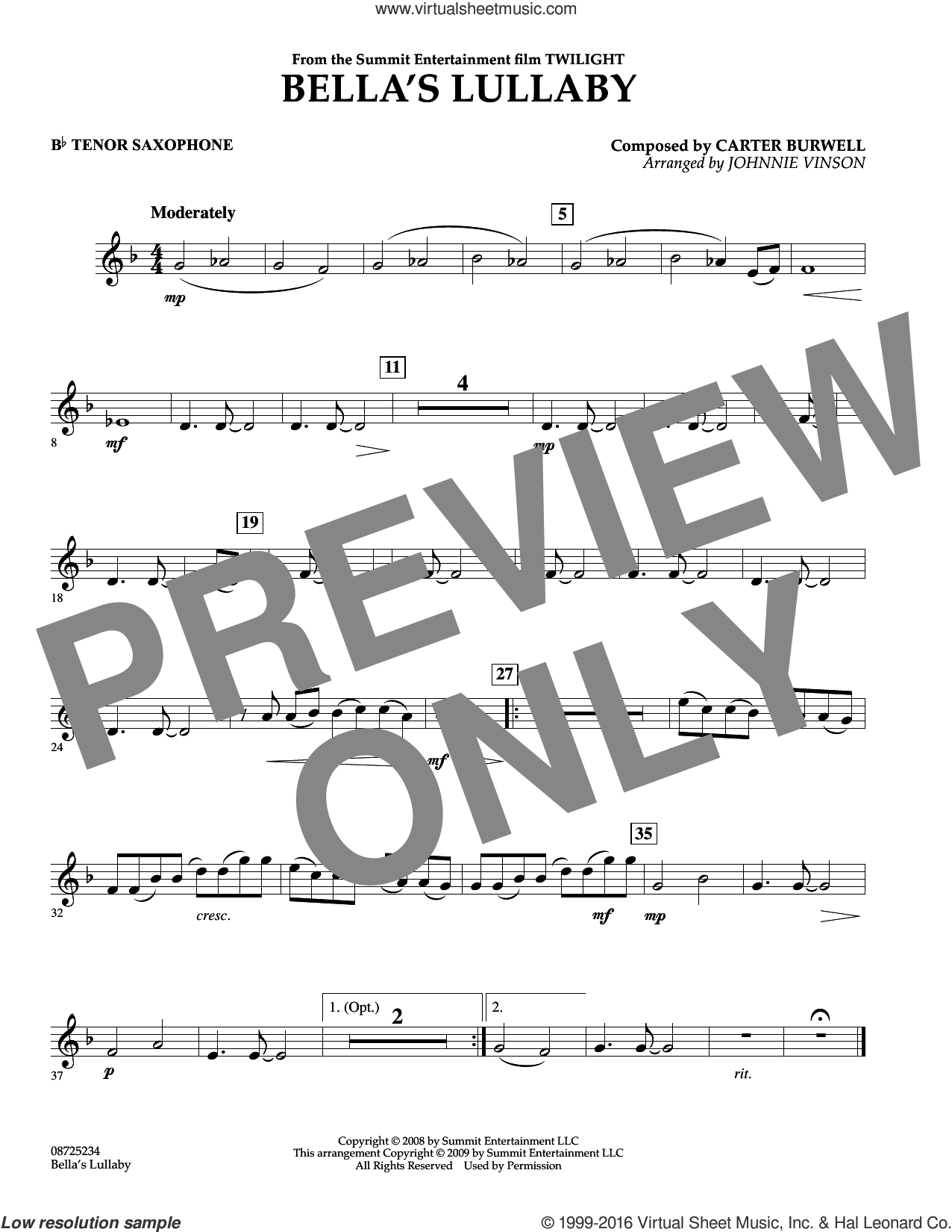 Bella's Lullaby (from Twilight) sheet music for concert band (Bb tenor saxophone) by Carter Burwell and Johnnie Vinson, intermediate