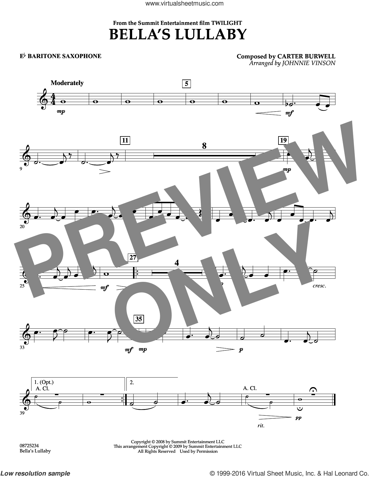 Bella's Lullaby (from Twilight) sheet music for concert band (Eb baritone saxophone) by Johnnie Vinson and Carter Burwell. Score Image Preview.