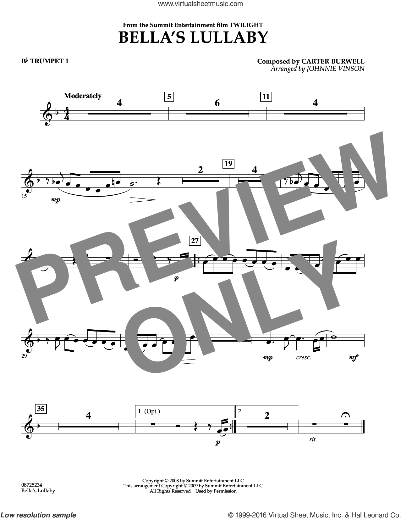 Bella's Lullaby (from Twilight) sheet music for concert band (Bb trumpet 1) by Carter Burwell and Johnnie Vinson, intermediate skill level