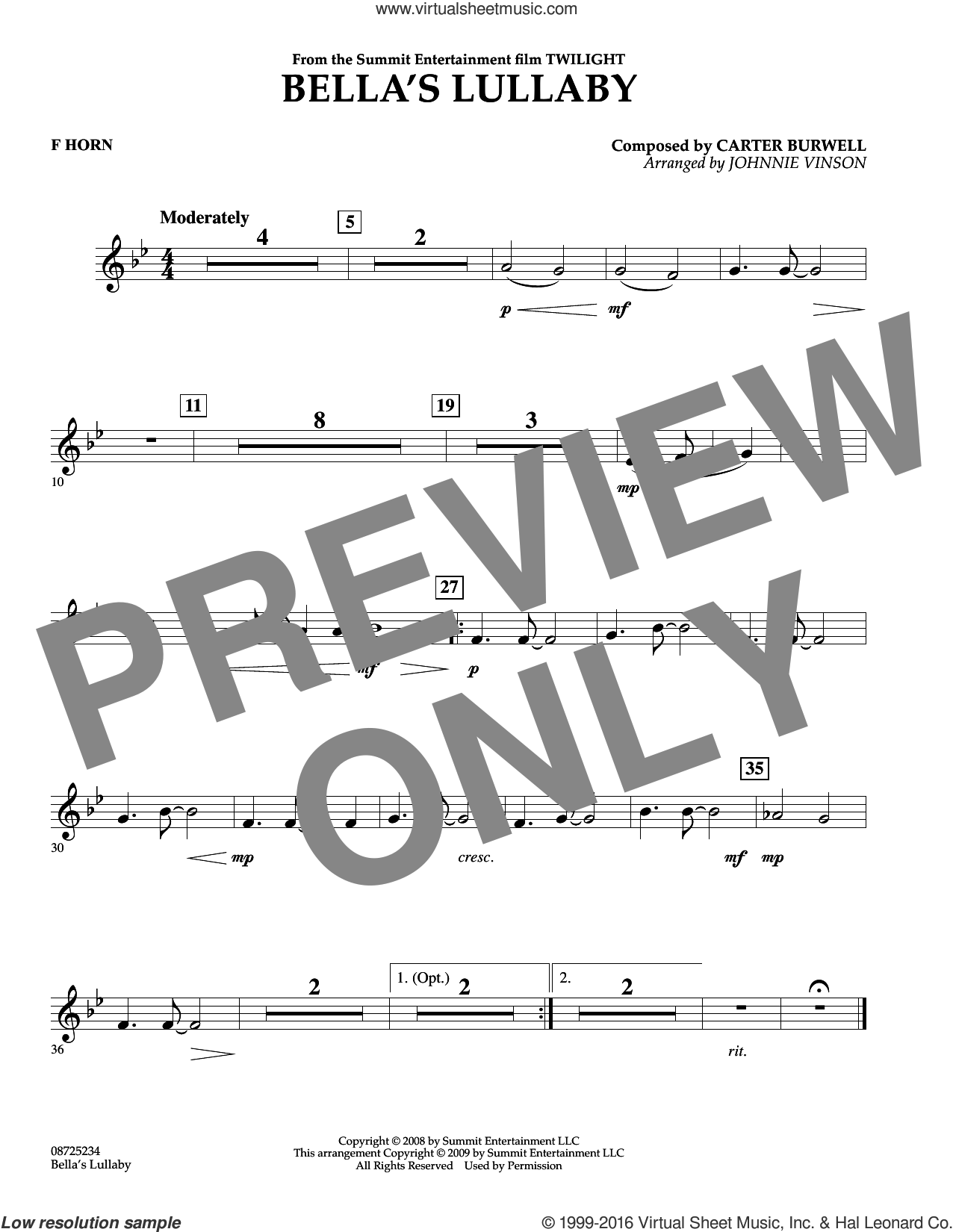 Bella's Lullaby (from Twilight) sheet music for concert band (f horn) by Carter Burwell and Johnnie Vinson. Score Image Preview.