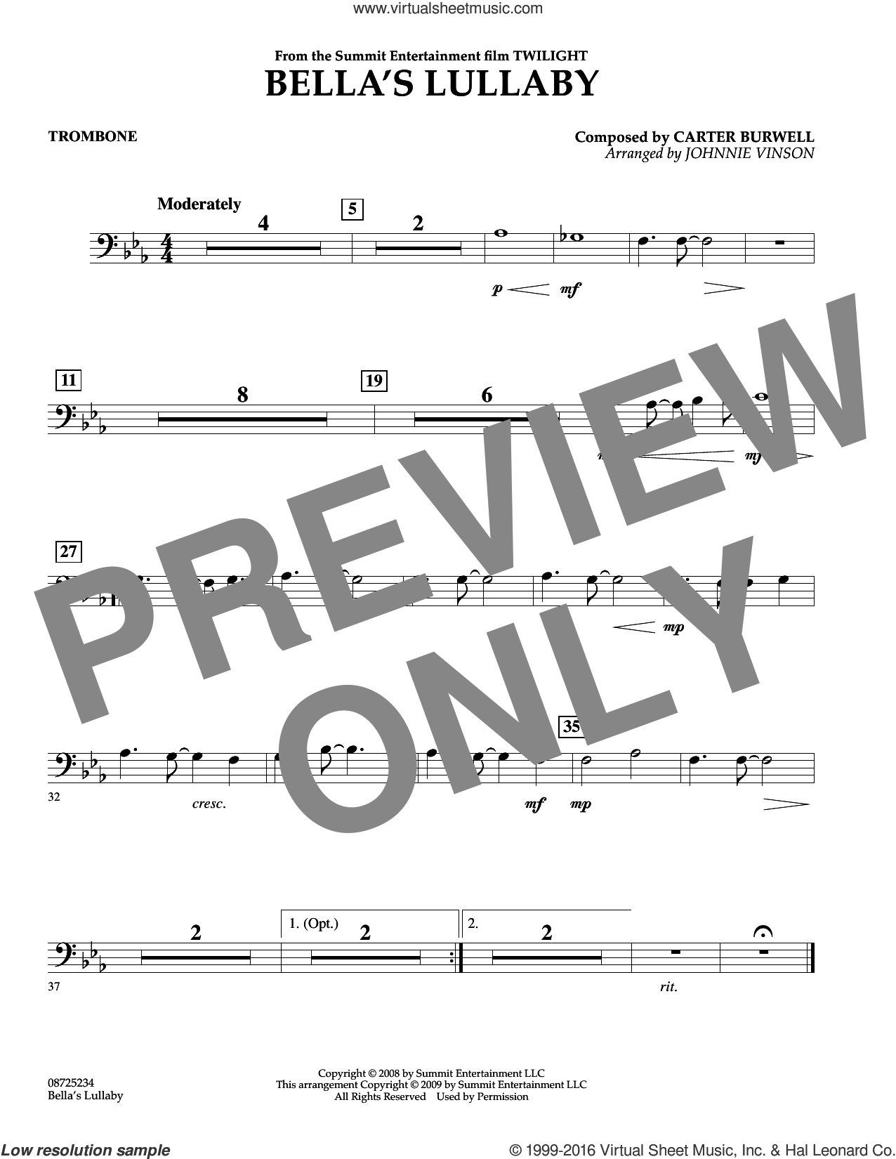 Bella's Lullaby (from Twilight) sheet music for concert band (trombone) by Carter Burwell and Johnnie Vinson, intermediate