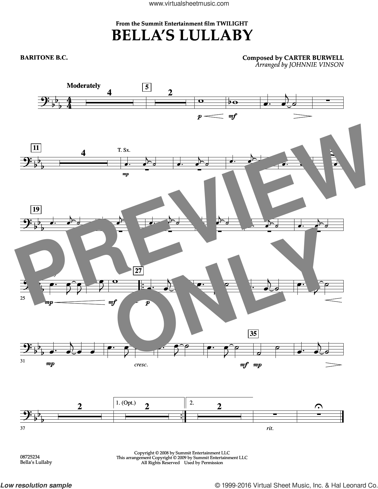 Bella's Lullaby (from Twilight) sheet music for concert band (baritone b.c.) by Johnnie Vinson and Carter Burwell. Score Image Preview.