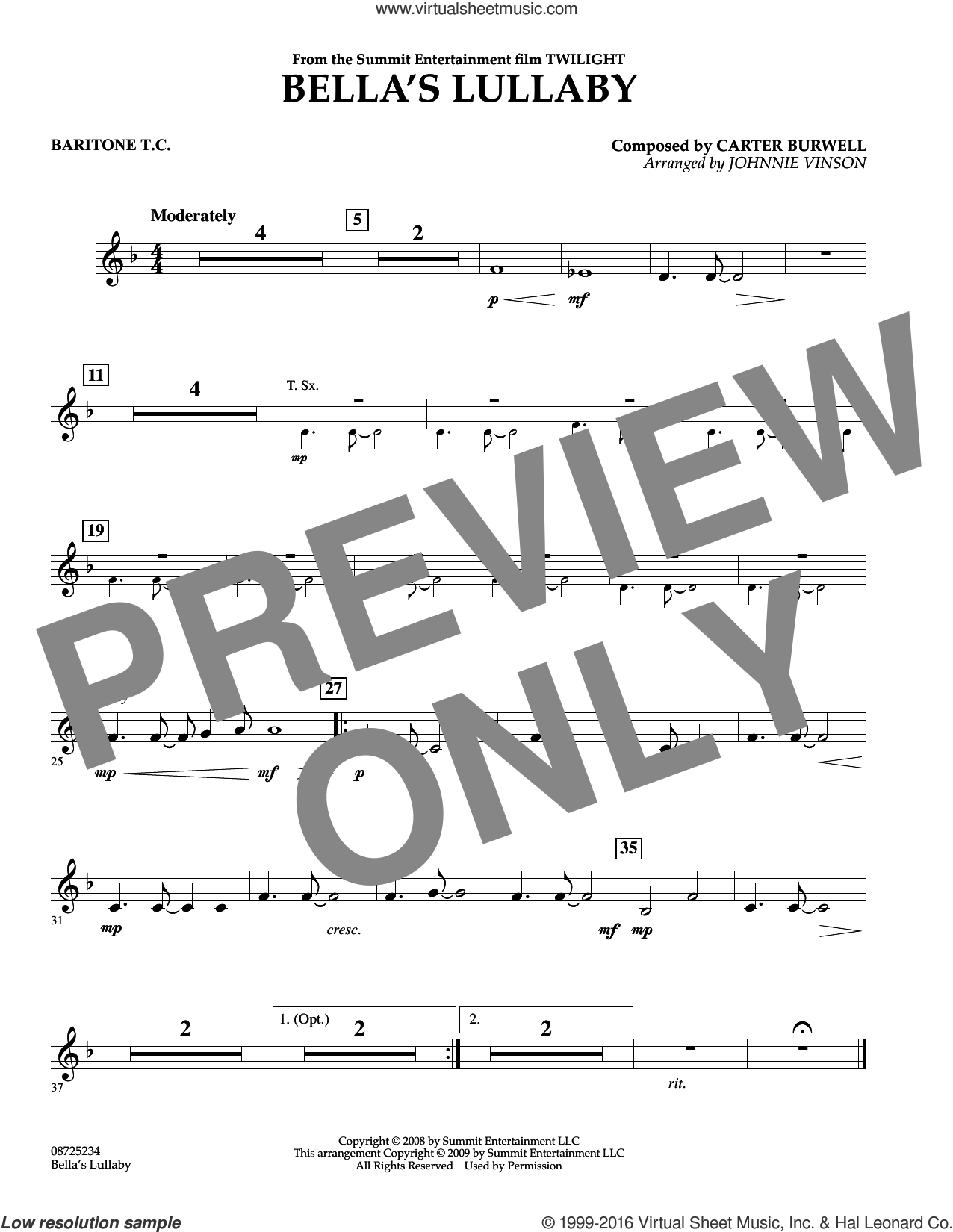 Bella's Lullaby (from Twilight) sheet music for concert band (baritone t.c.) by Johnnie Vinson and Carter Burwell. Score Image Preview.