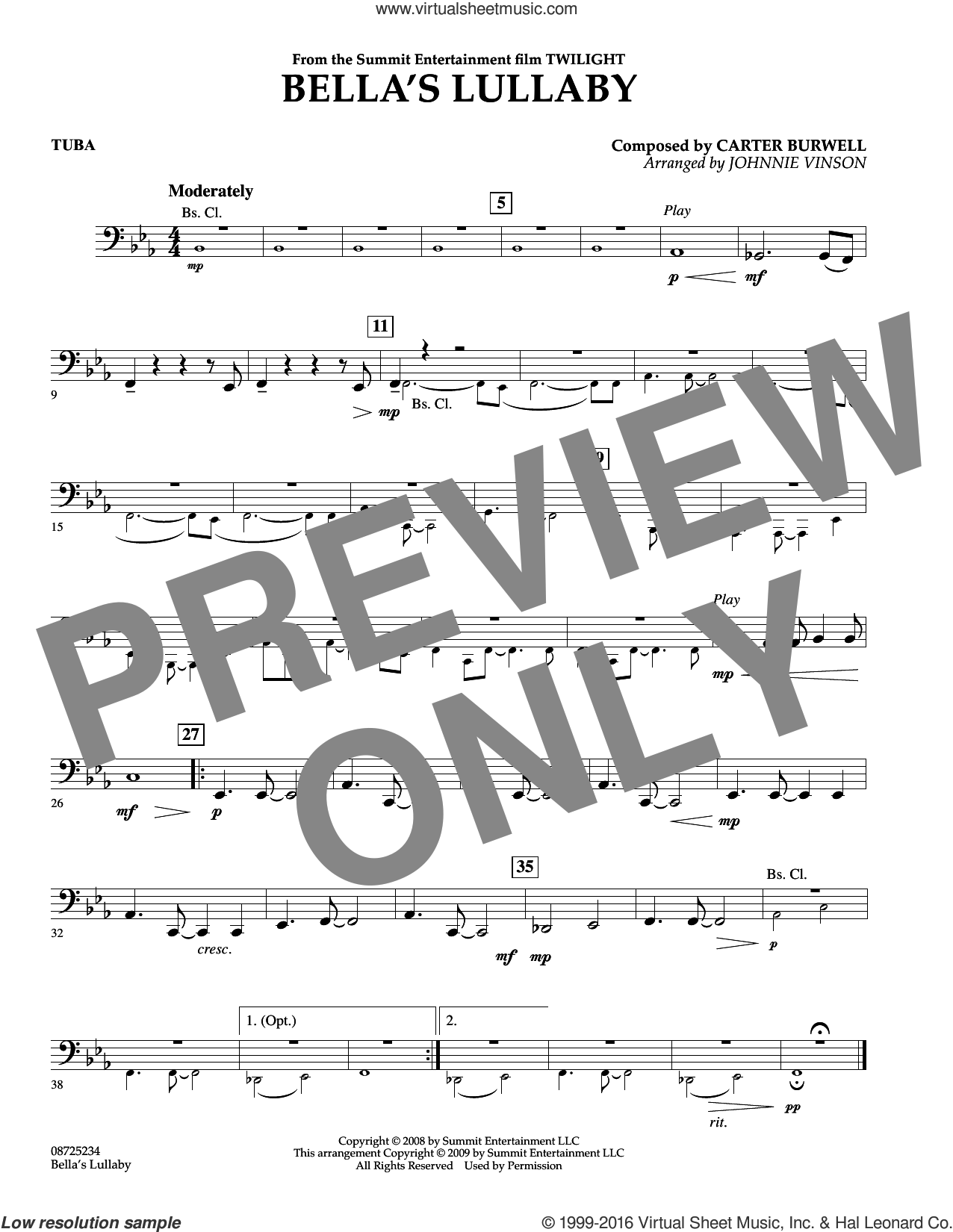Bella's Lullaby (from Twilight) sheet music for concert band (tuba) by Johnnie Vinson and Carter Burwell. Score Image Preview.