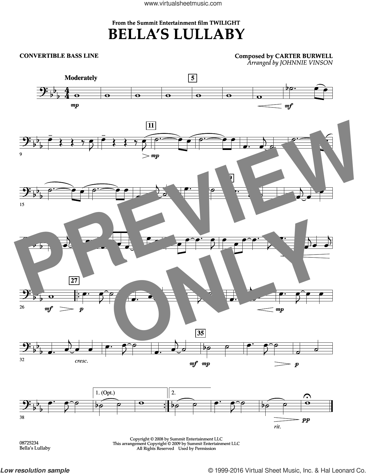 Bella's Lullaby (from Twilight) sheet music for concert band (convertible bass line) by Johnnie Vinson and Carter Burwell. Score Image Preview.