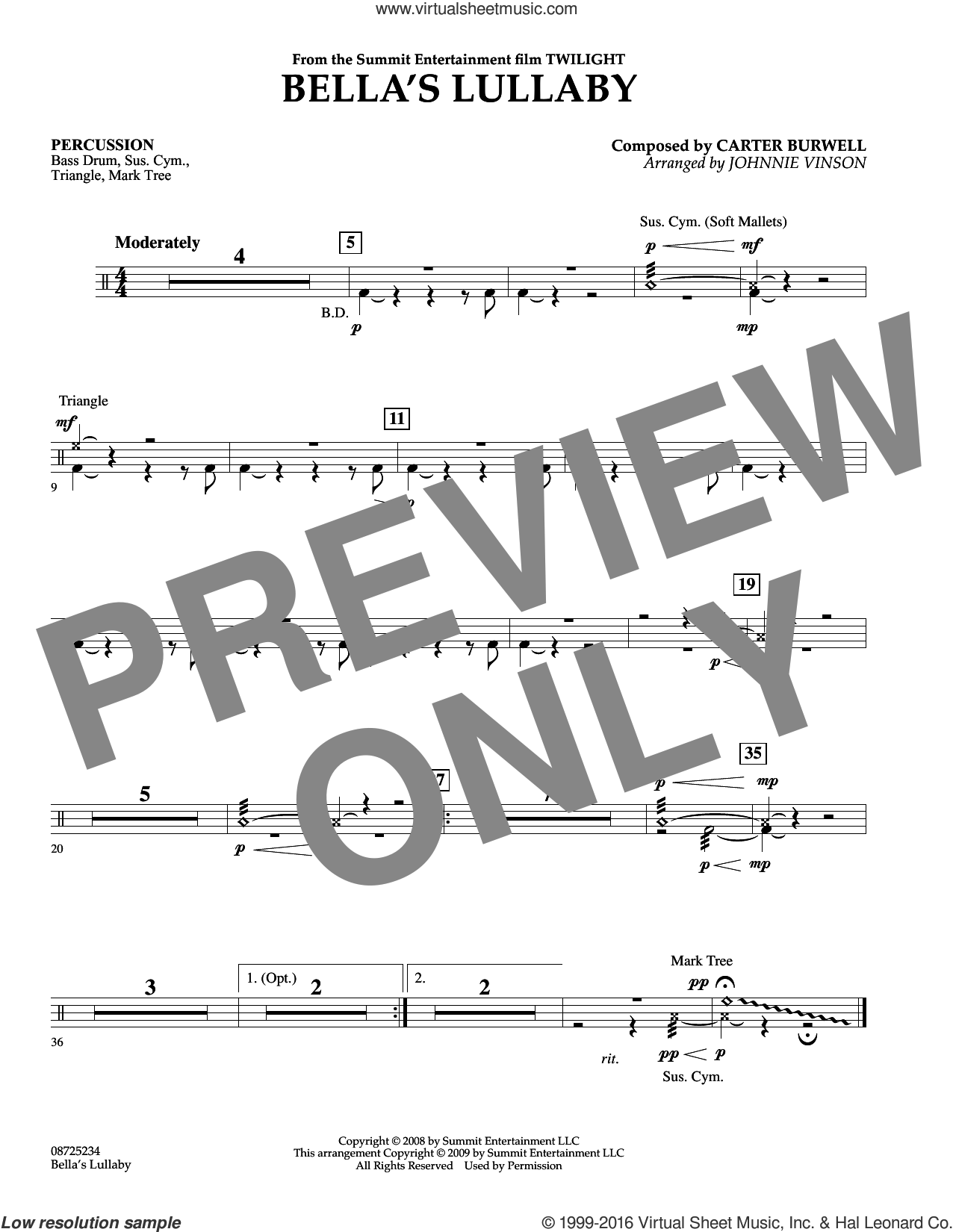 Bella's Lullaby (from Twilight) sheet music for concert band (percussion) by Carter Burwell and Johnnie Vinson, intermediate concert band (percussion). Score Image Preview.