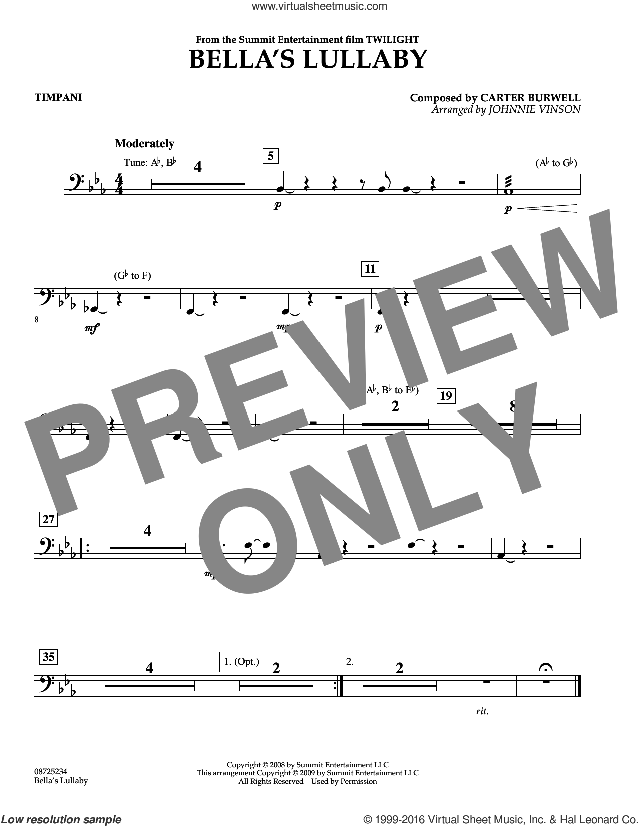 Bella's Lullaby (from Twilight) sheet music for concert band (timpani) by Carter Burwell and Johnnie Vinson, intermediate. Score Image Preview.