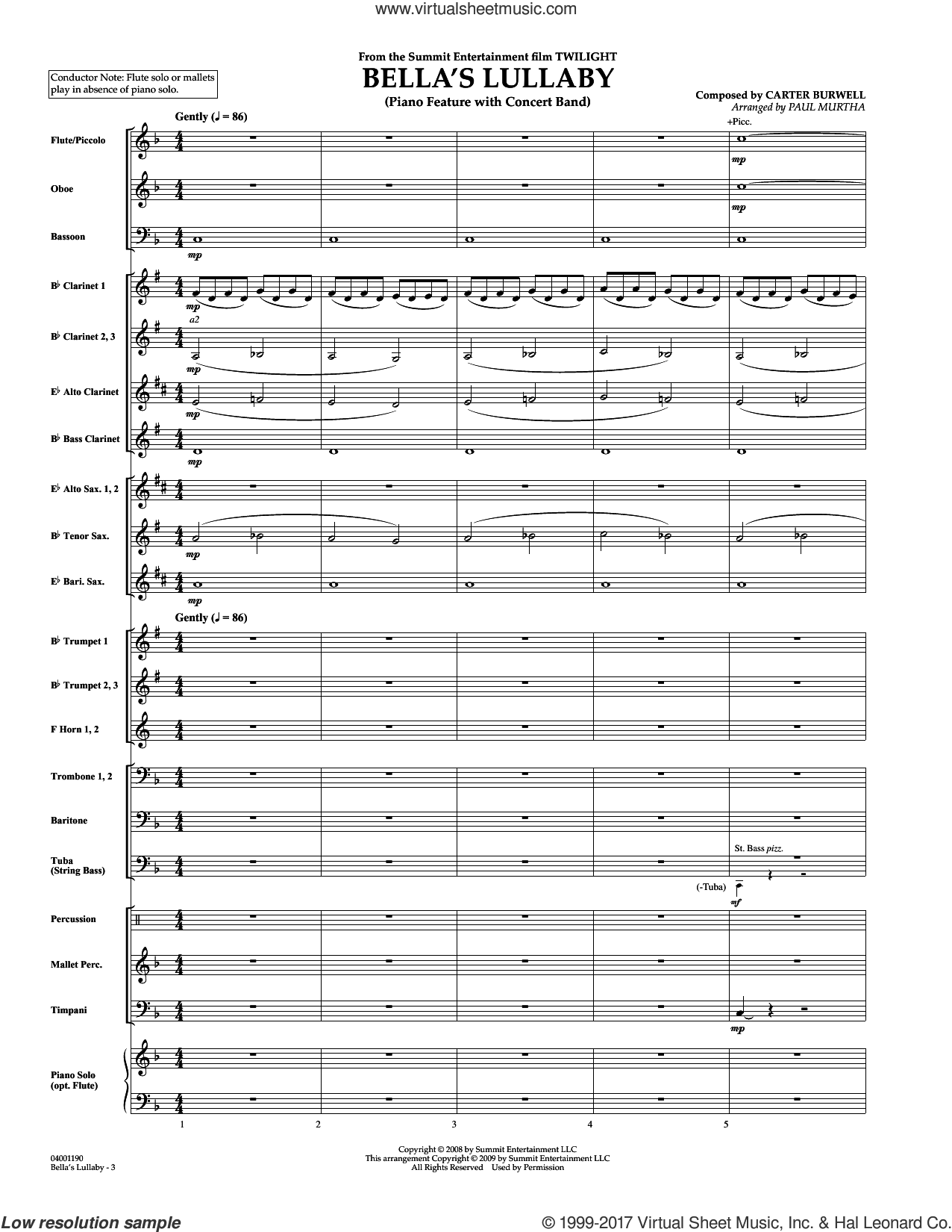 Bella's Lullaby (from Twilight) (COMPLETE) sheet music for concert band by Paul Murtha and Carter Burwell, intermediate concert band. Score Image Preview.