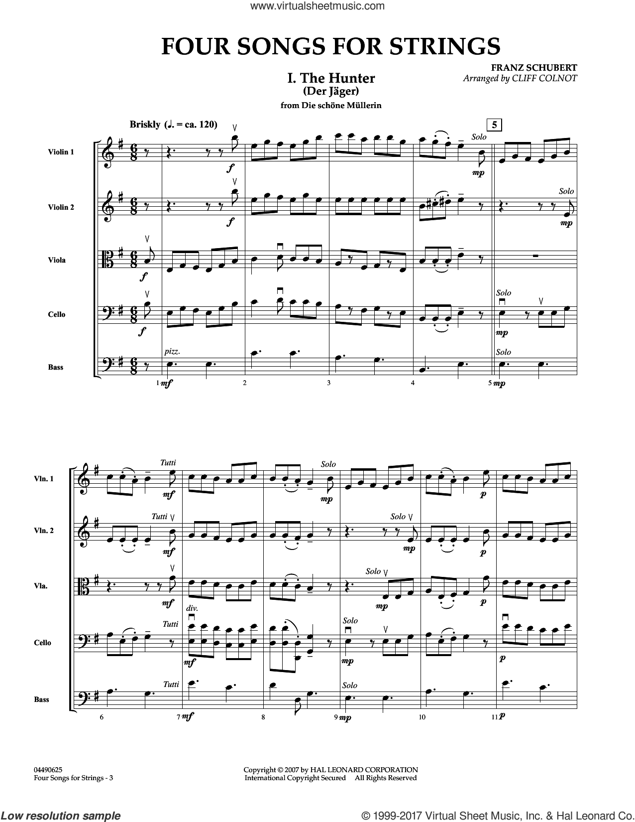 Four Songs for Strings (COMPLETE) sheet music for orchestra by Franz Schubert and Cliff Colnot, classical score, intermediate skill level