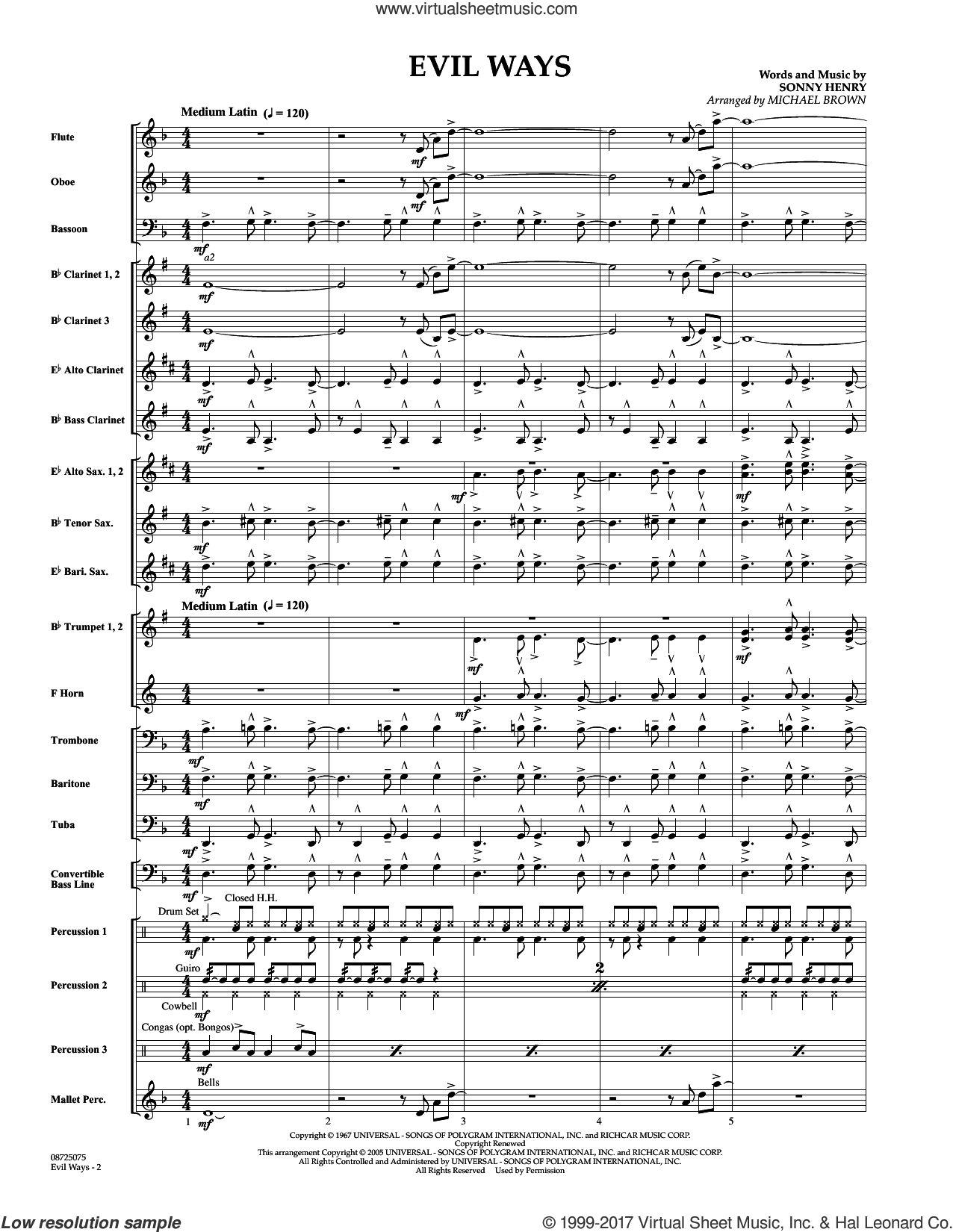 Evil Ways (COMPLETE) sheet music for concert band by Michael Brown, Carlos Santana and Sonny Henry, intermediate skill level