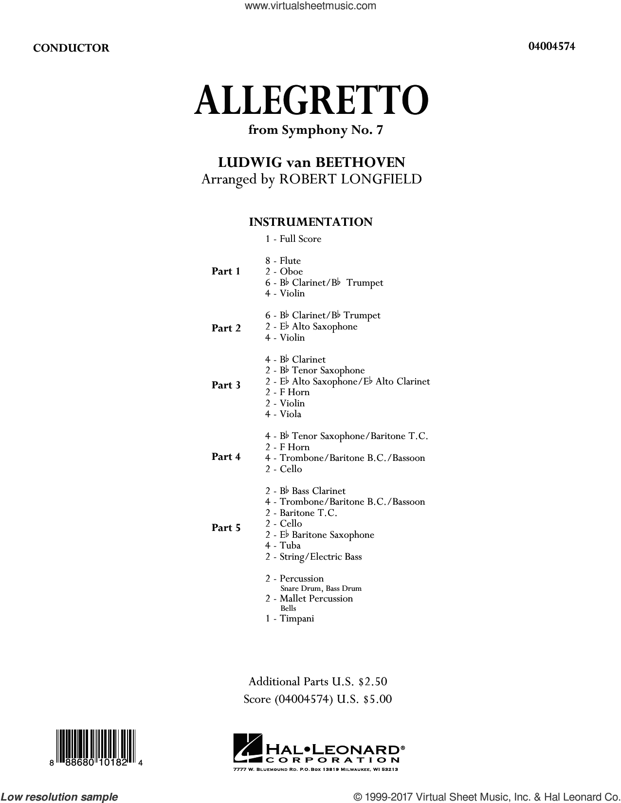 Allegretto (from Symphony No. 7) (COMPLETE) sheet music for concert band by Ludwig van Beethoven and Robert Longfield, classical score, intermediate skill level