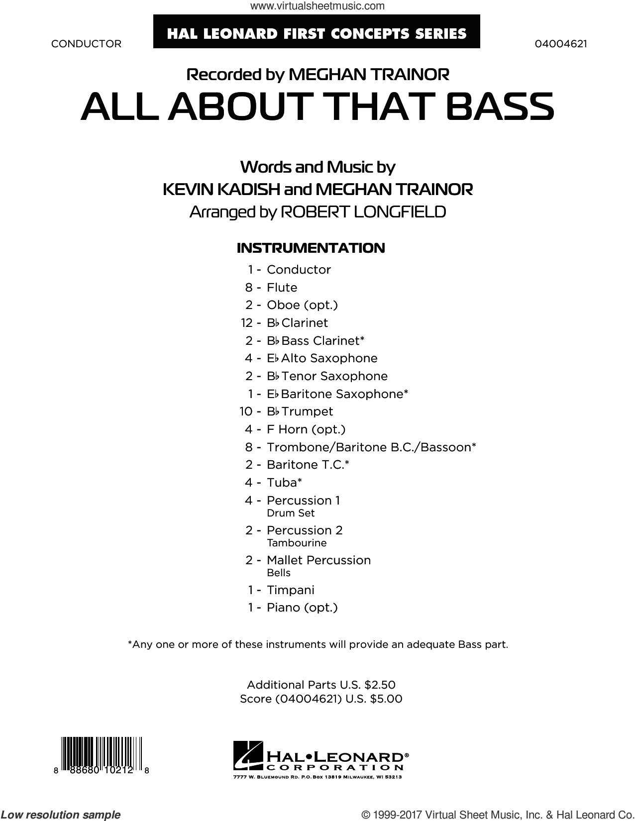 All About That Bass (COMPLETE) sheet music for concert band by Robert Longfield, Kevin Kadish and Meghan Trainor, intermediate concert band. Score Image Preview.