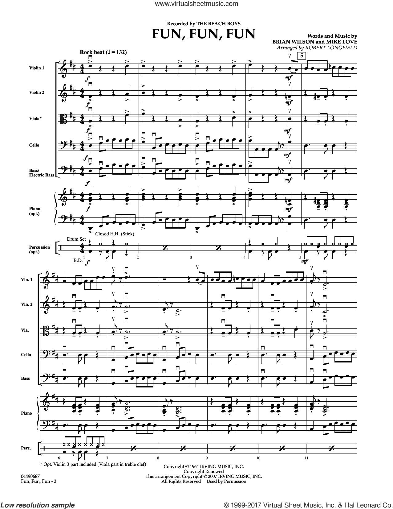 Fun, Fun, Fun (COMPLETE) sheet music for orchestra by The Beach Boys, Brian Wilson and Robert Longfield, intermediate orchestra. Score Image Preview.