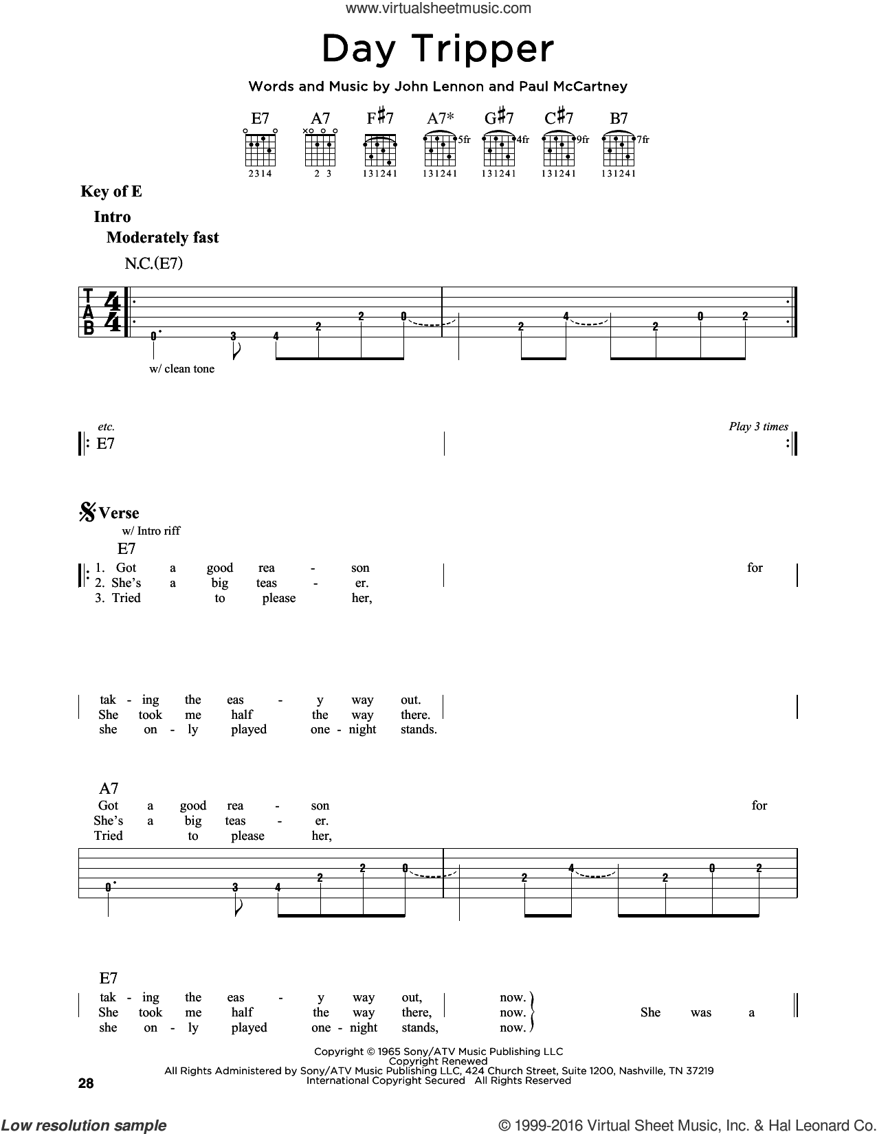 Day Tripper sheet music for guitar solo (lead sheet) by The Beatles, John Lennon and Paul McCartney, intermediate guitar (lead sheet)
