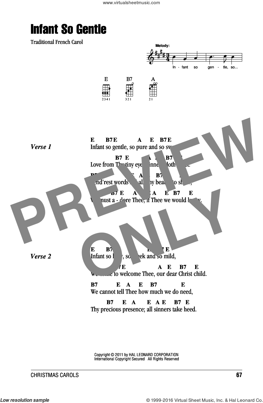 Infant So Gentle sheet music for ukulele (chords). Score Image Preview.