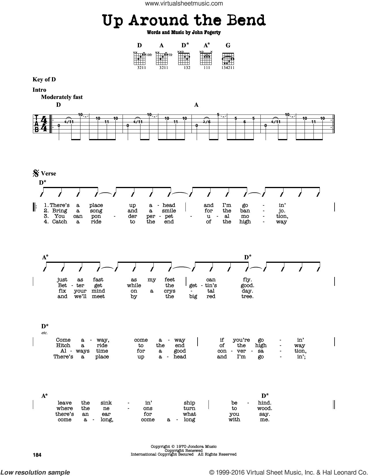 Up Around The Bend sheet music for guitar solo (lead sheet) by Creedence Clearwater Revival and John Fogerty, intermediate guitar (lead sheet). Score Image Preview.