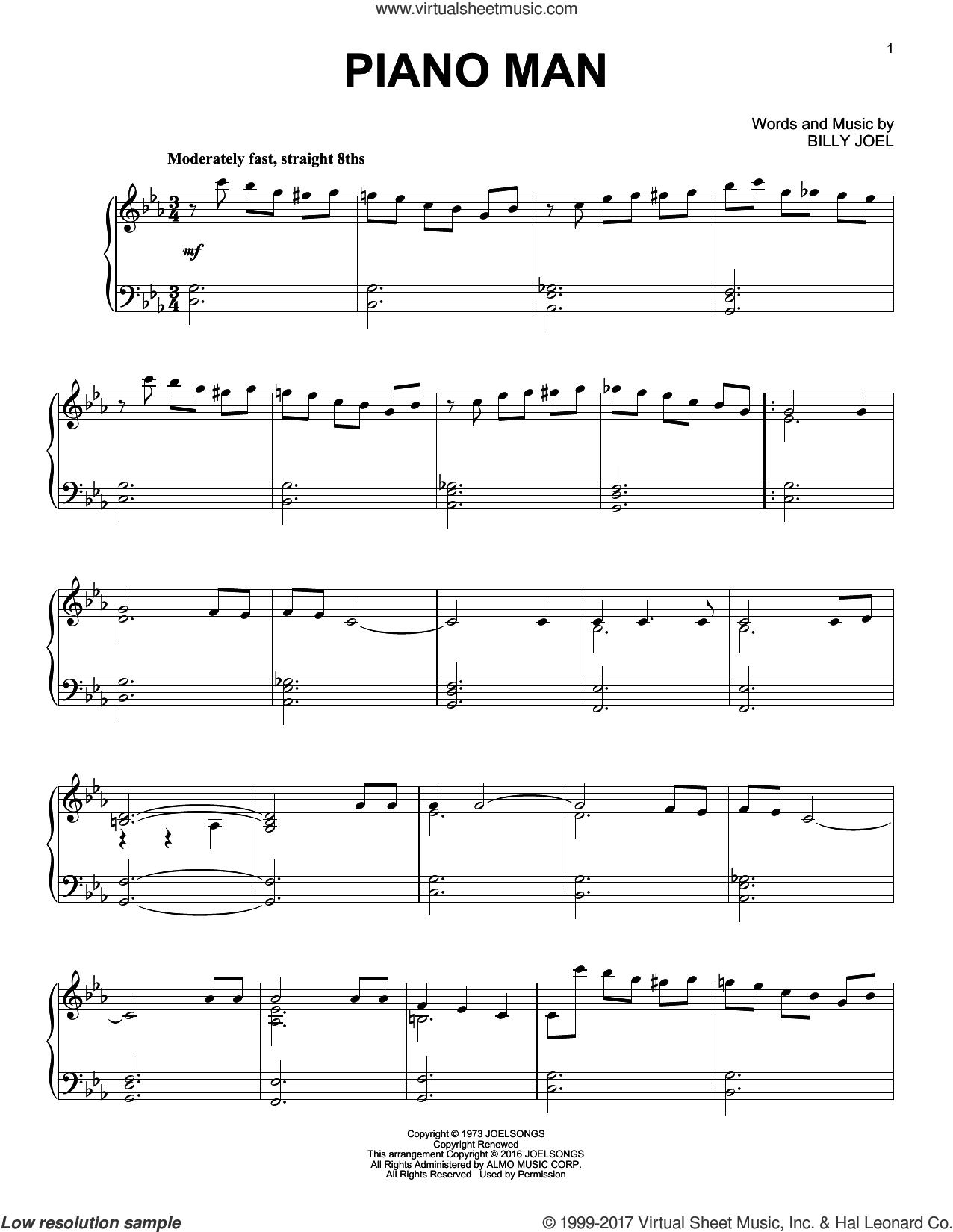 Piano Man [Jazz version] sheet music for piano solo by Billy Joel, intermediate skill level