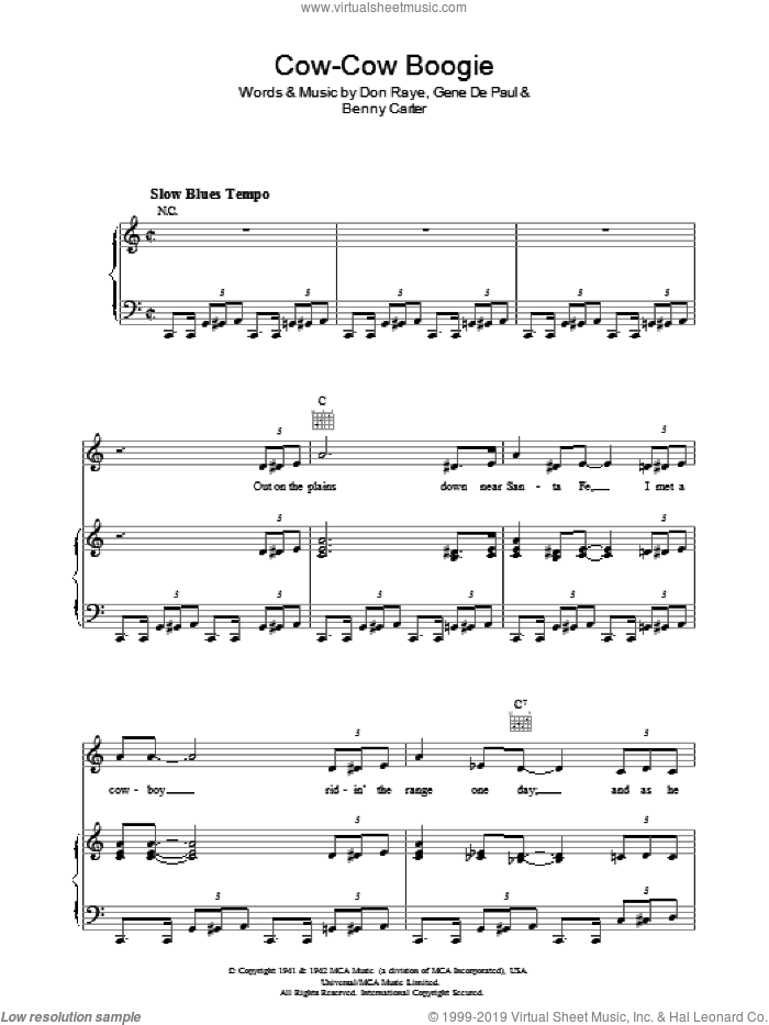 Cow-Cow Boogie sheet music for voice, piano or guitar by Gene DePaul