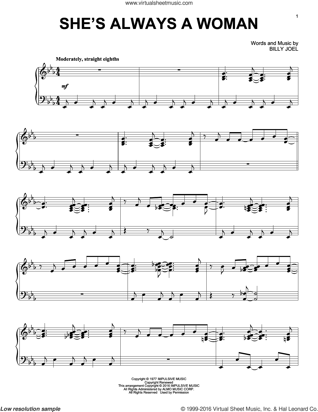 She's Always A Woman sheet music for piano solo by Billy Joel, intermediate skill level