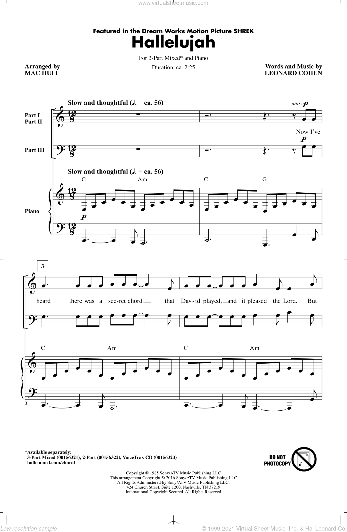 Hallelujah sheet music for choir and piano (chamber ensemble) by Mac Huff and Leonard Cohen. Score Image Preview.