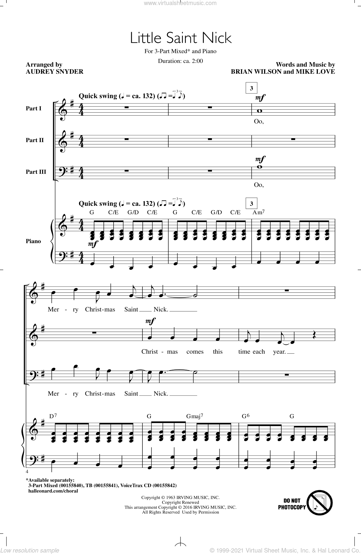 Little Saint Nick sheet music for choir (chamber ensemble) by Audrey Snyder, The Beach Boys, Brian Wilson and Mike Love. Score Image Preview.