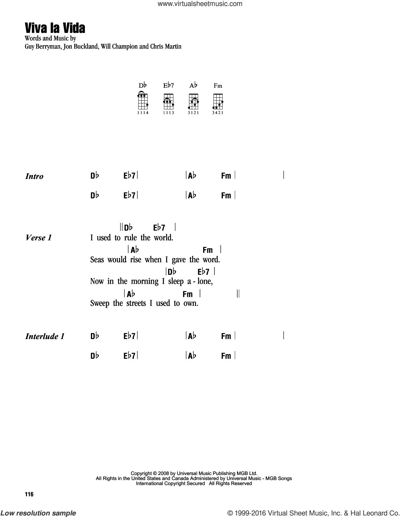 Viva La Vida sheet music for ukulele (chords) by Guy Berryman, Coldplay, Chris Martin, Jon Buckland and Will Champion, intermediate skill level