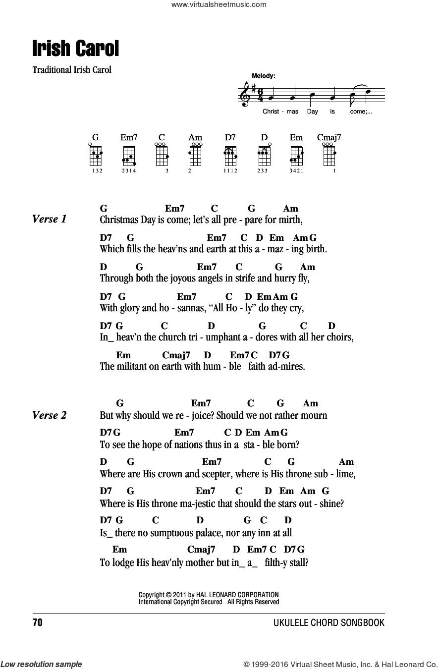 We Wish You A Merry Christmas Ukulele Chords.Irish Carol Sheet Music For Ukulele Chords Pdf