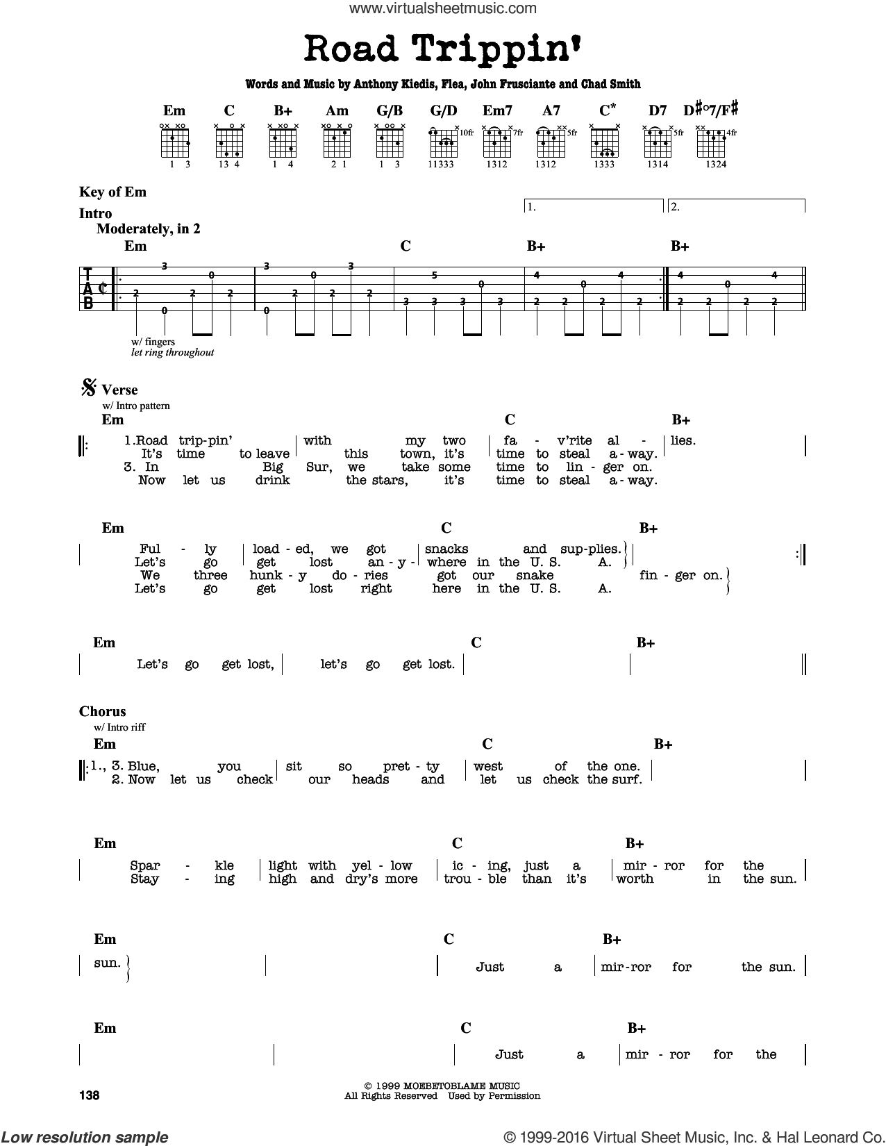 Road Trippin' sheet music for guitar solo (lead sheet) by John Frusciante, Red Hot Chili Peppers and Flea. Score Image Preview.