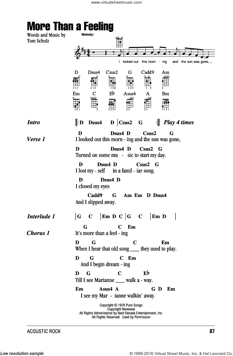 More Than A Feeling sheet music for ukulele (chords) by Boston and Tom Scholz, intermediate skill level