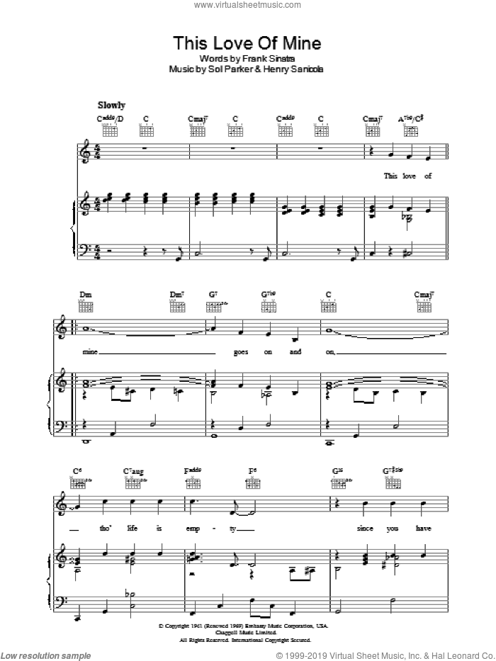 This Love Of Mine sheet music for voice, piano or guitar by Sol Parker, Frank Sinatra and Henry Sanicola. Score Image Preview.