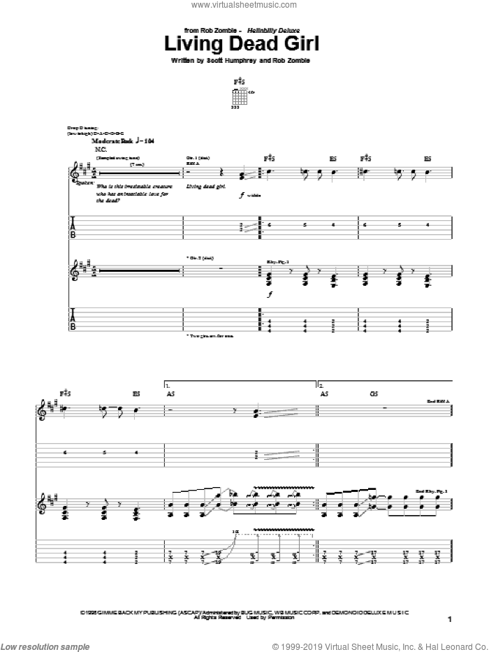 Living Dead Girl sheet music for guitar (tablature) by Rob Zombie and Scott Humphrey, intermediate skill level