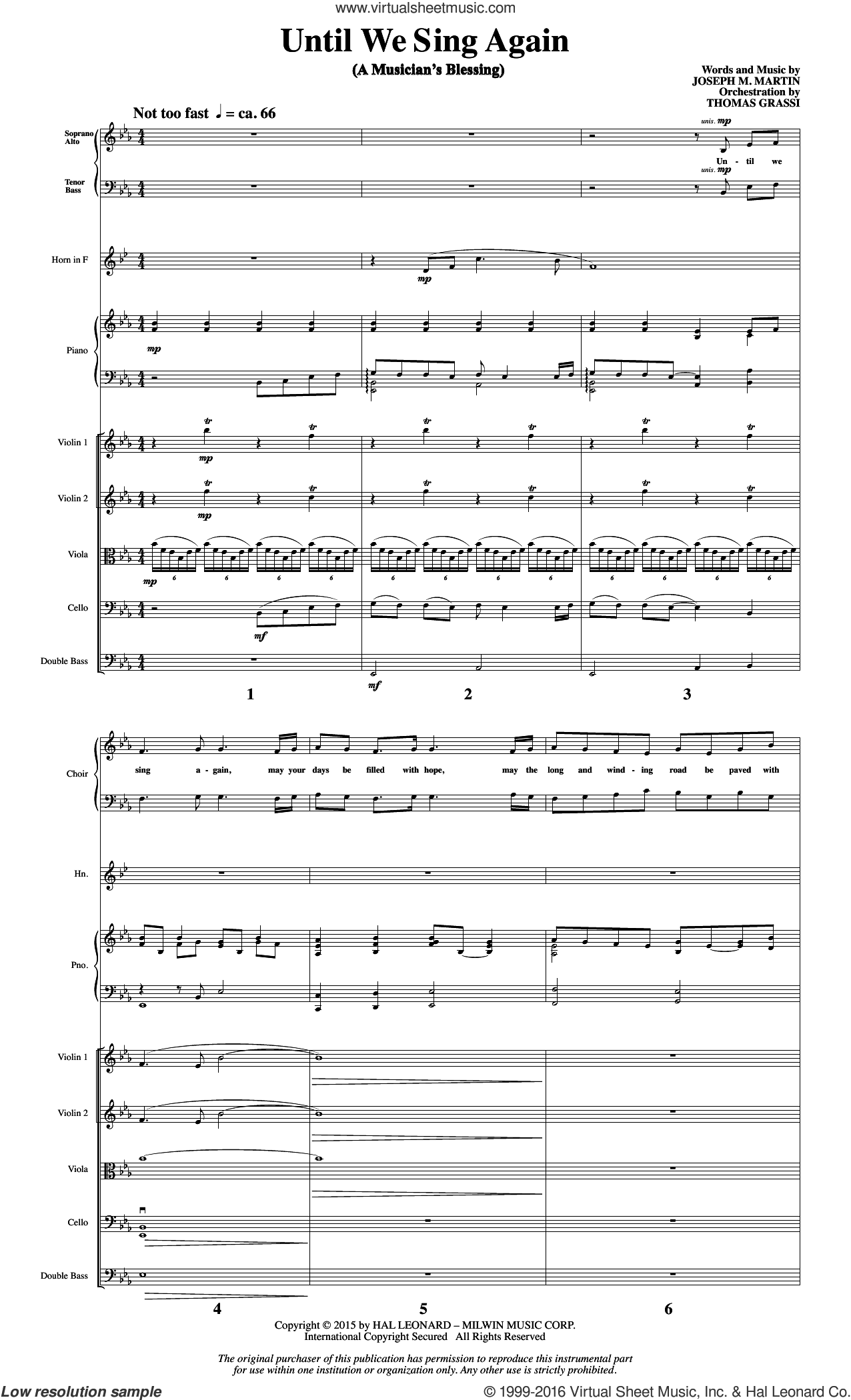 Until We Sing Again (COMPLETE) sheet music for orchestra by Joseph M. Martin. Score Image Preview.