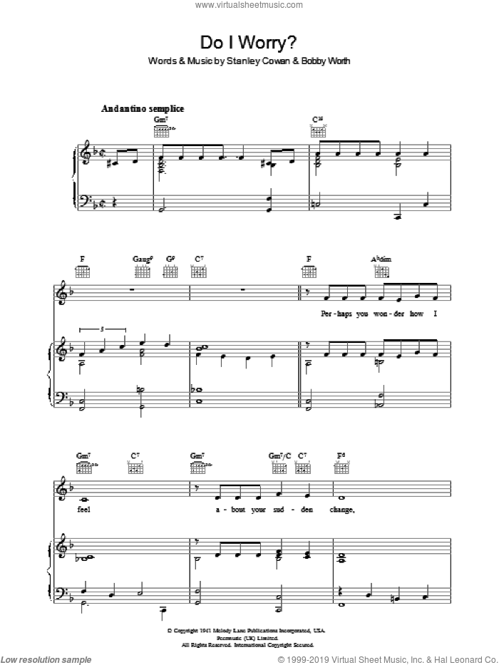 Do I Worry sheet music for voice, piano or guitar by Bobby Worth. Score Image Preview.