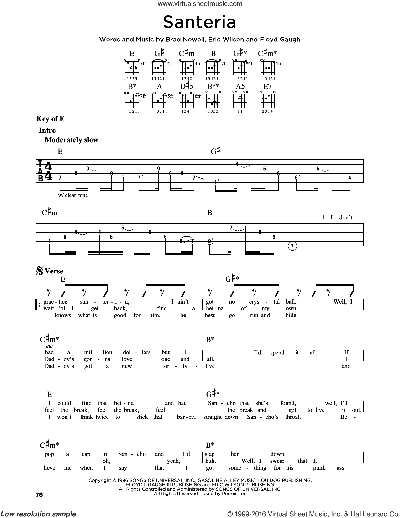 Santeria sheet music for guitar solo (lead sheet) by Sublime and Brad Nowell. Score Image Preview.