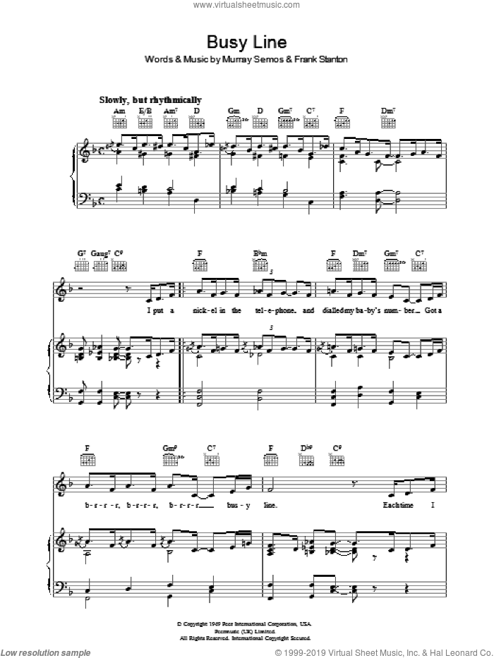 Busy Line sheet music for voice, piano or guitar by Frank Stanton