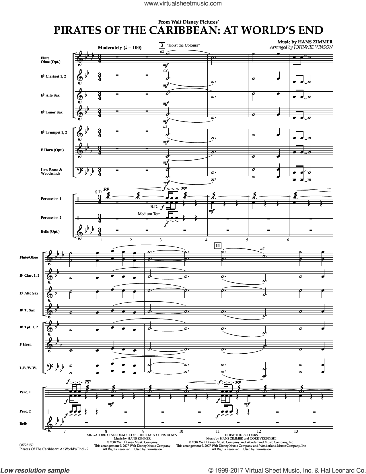 Pirates Of The Caribbean: At World's End (COMPLETE) sheet music for concert band by Hans Zimmer and Johnnie Vinson, intermediate skill level