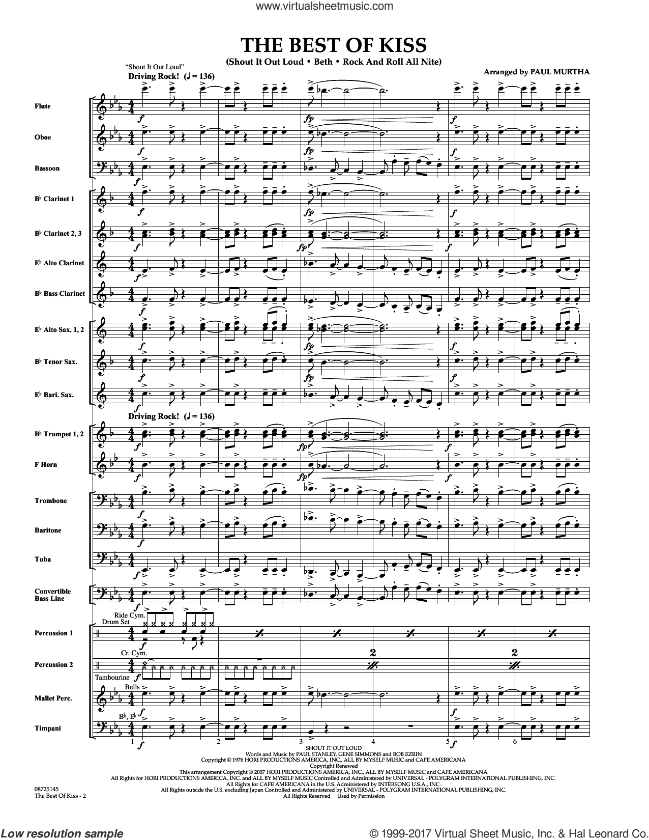 The Best of Kiss (COMPLETE) sheet music for concert band by Paul Murtha, intermediate. Score Image Preview.