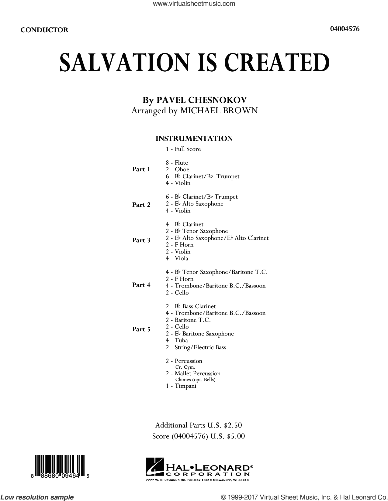 Salvation Is Created (COMPLETE) sheet music for concert band by Michael Brown, Pavel Chesnokov and Pavel Tschesnokoff, Christmas carol score, intermediate concert band. Score Image Preview.