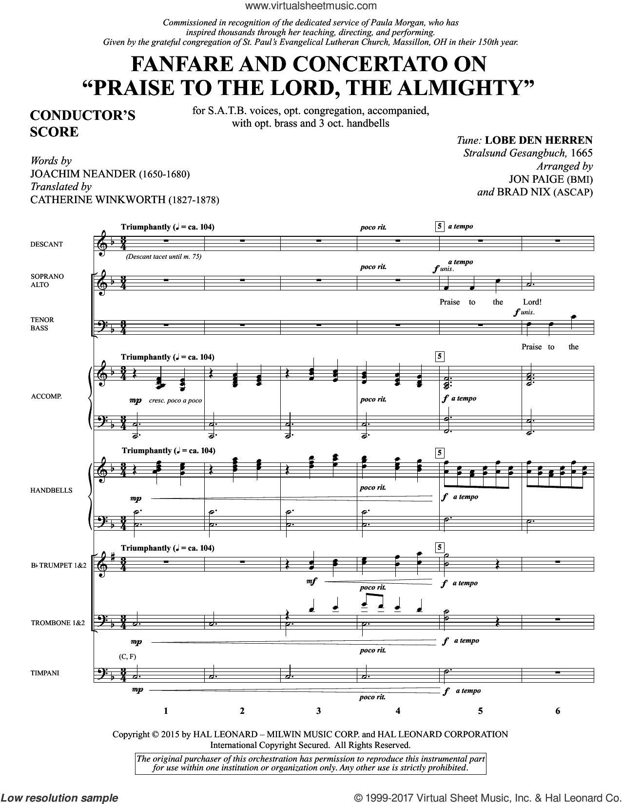 Fanfare and Concertato on 'Praise to the Lord, the Almighty' (COMPLETE) sheet music for orchestra/band by Brad Nix, Catherine Winkworth, Erneuerten Gesangbuch and Joachim Neander, intermediate skill level