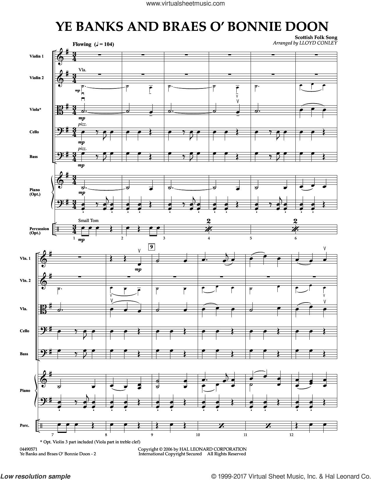 Ye Banks and Braes O' Bonnie Doon (COMPLETE) sheet music for orchestra by Robert Burns and Lloyd Conley, intermediate. Score Image Preview.