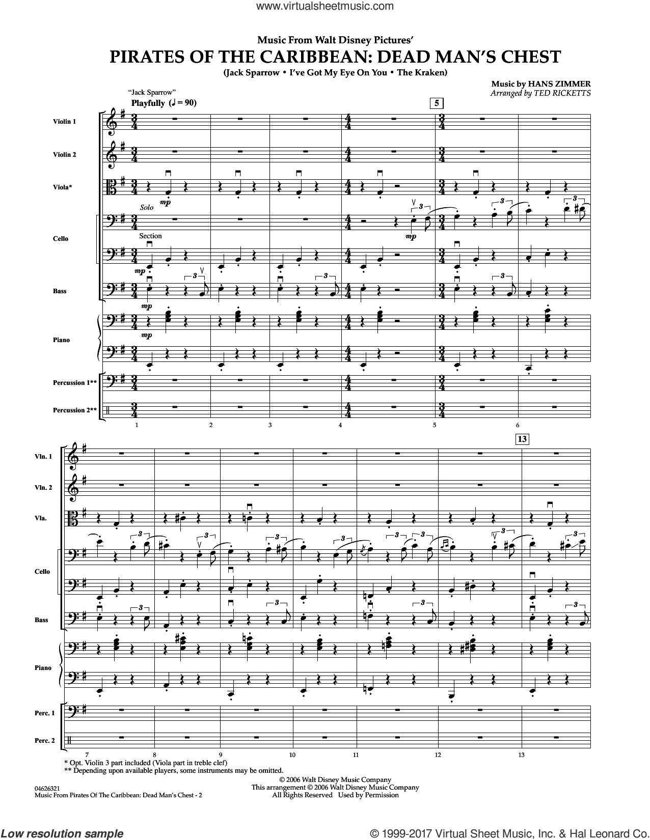 Music from Pirates of the Caribbean: Dead Man's Chest (COMPLETE) sheet music for orchestra by Hans Zimmer and Ted Ricketts, intermediate